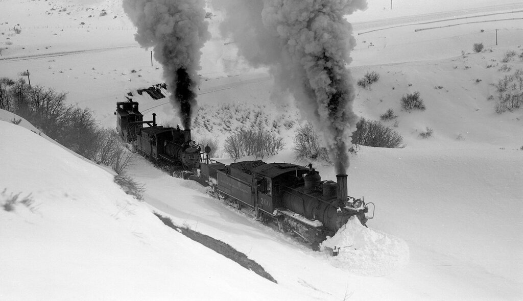 D&RGW train (Narrow Gauge), engine number 360 and 361, clearing snow on Cerro Summit, Colo., February 22, 1940