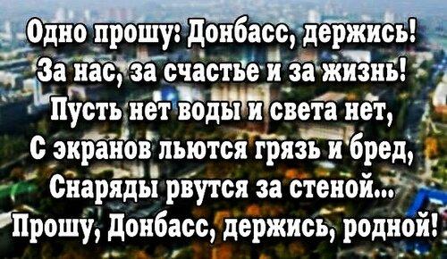 Прошу, Донбасс, держись, родной!