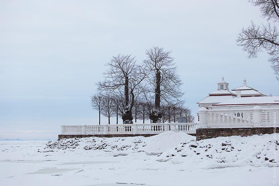 Нижний парк Петергофа зимой