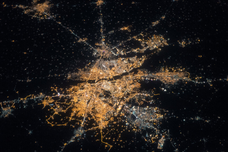 Нью-Дели ночью из космоса
