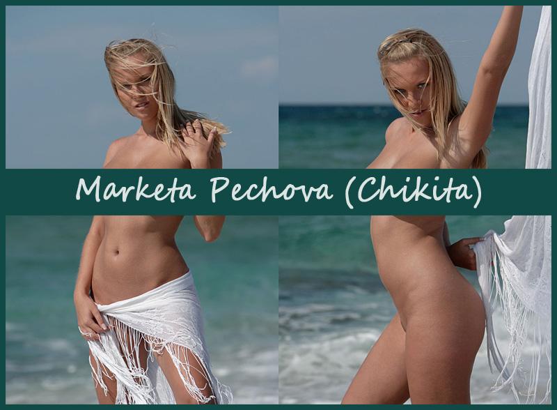 Обнажённая блондинка Chikita (Marketa Pechova) в волнах прибоя