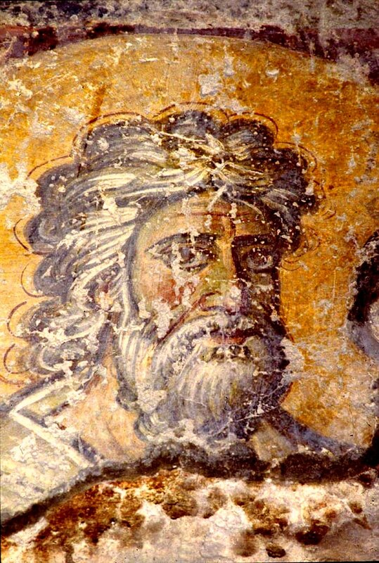 Святой Апостол Андрей Первозванный. Фреска церкви Санта Мария Антиква в Риме. 705 - 707 годы.