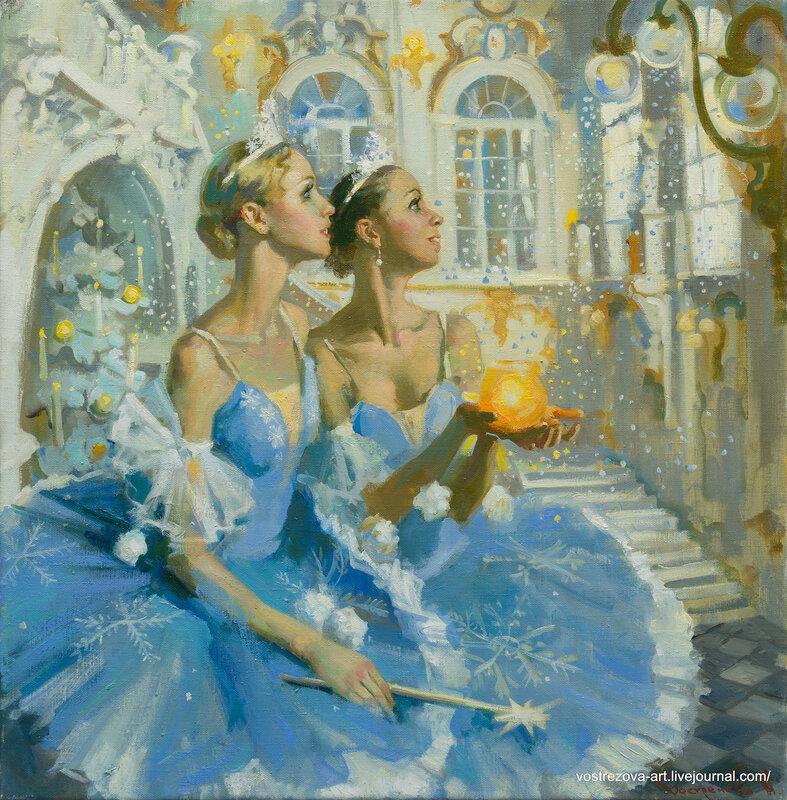 картины открытка балерина с новым годом посетить