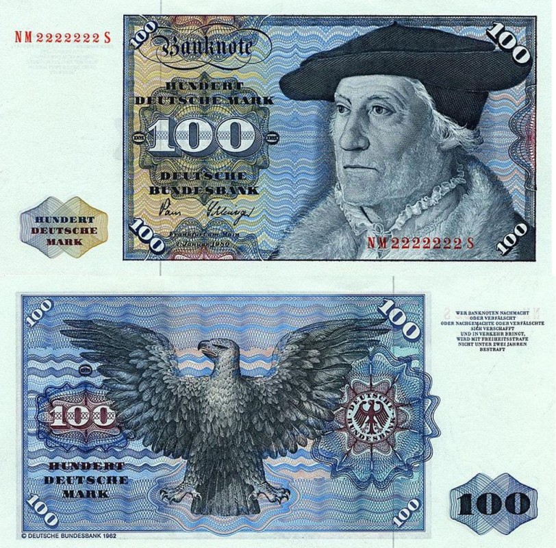 ФРГ, 100 немецких марок, 1980