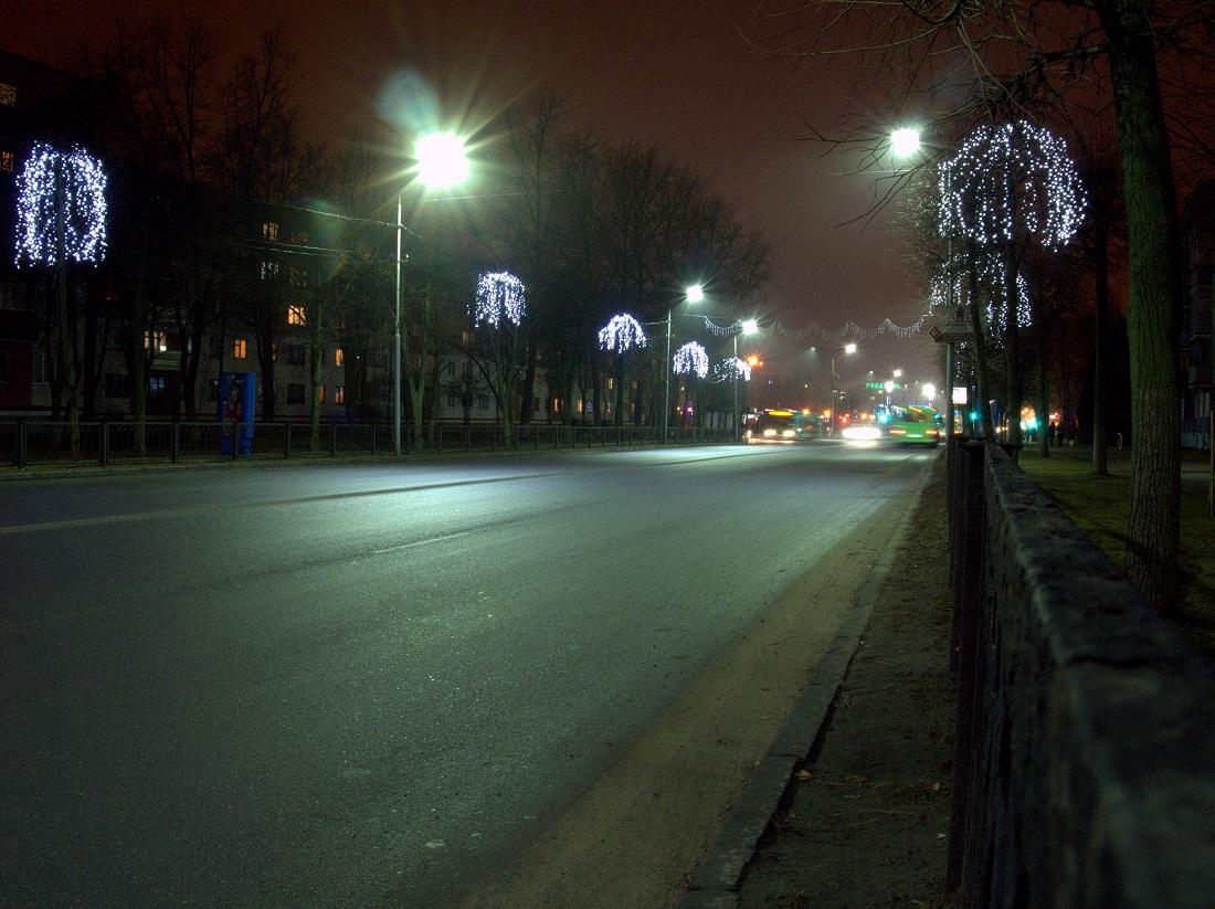 Украшенная улица Молодёжная. Новополоцк. Беларусь.