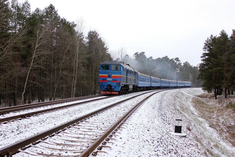 2ТЭ116-1312 с ПДСом Минск-Запорожье на перегоне Новобелицкая - Лисички