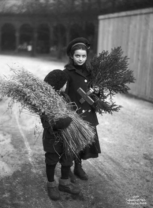 Scandinavian Children bringing home traditional Christmas decor, exact year unknown.jpg