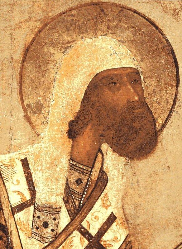 Святитель Феодор, архиепископ Ростовский. Икона XVII века. Фрагмент.
