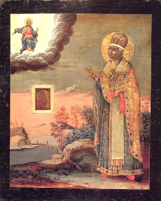 Святитель Никита, затворник Печерский, Епископ Новгородский. Икона. Россия, XVIII век.