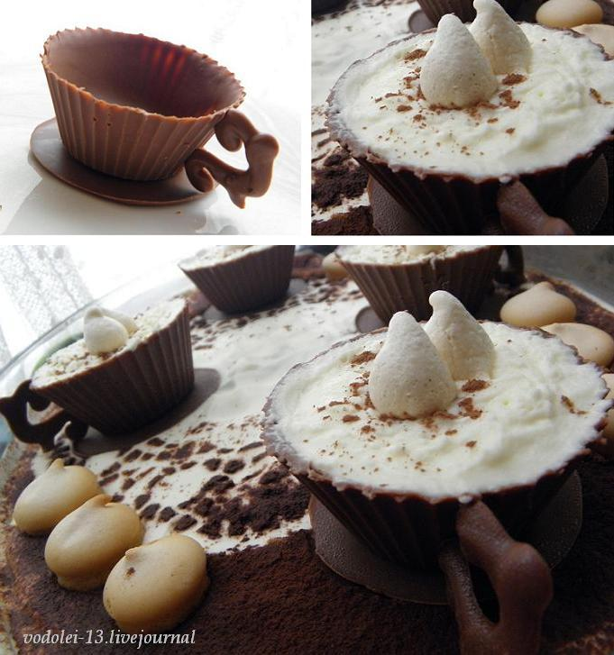 тирамису с шоколадной чашкой