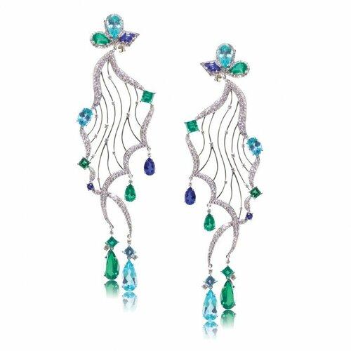 Caroline C - 18 K white gold earrings with white Diamonds, Tanzanite, Emeralds, and Paraiba