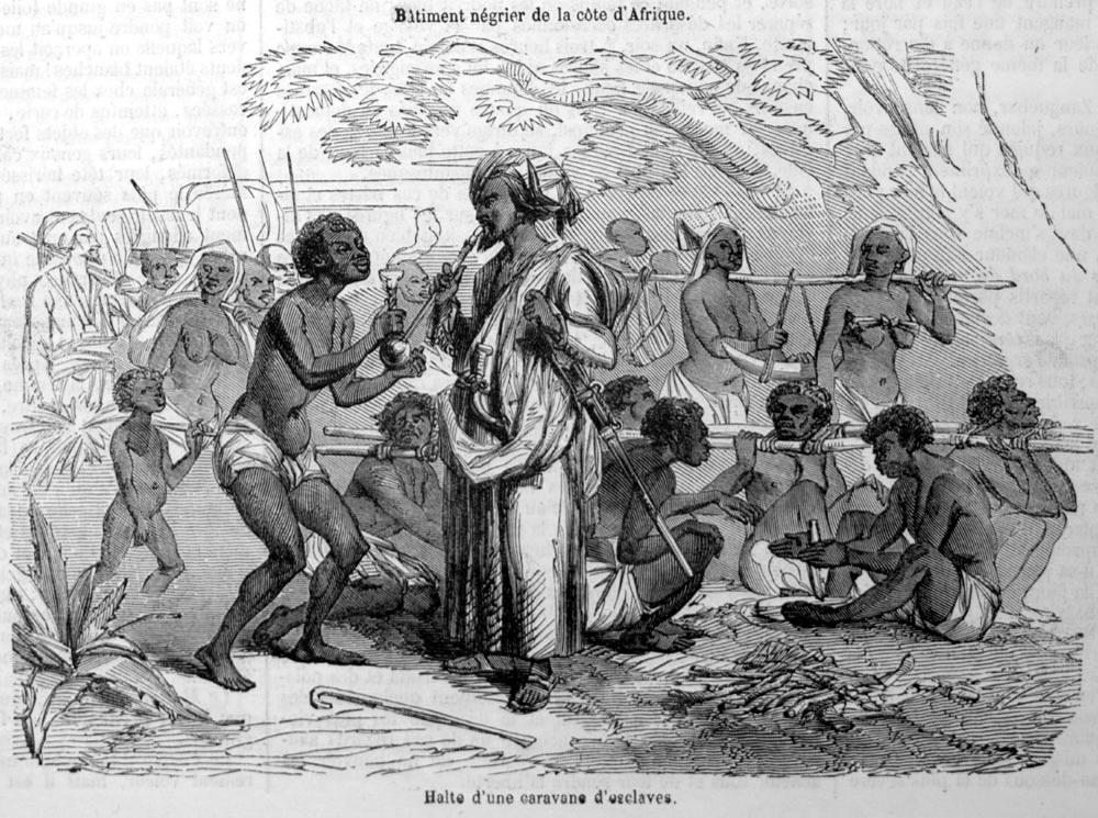Рабы во время привала (Восточная Африка, Верхний Нил, 1840-е годы)