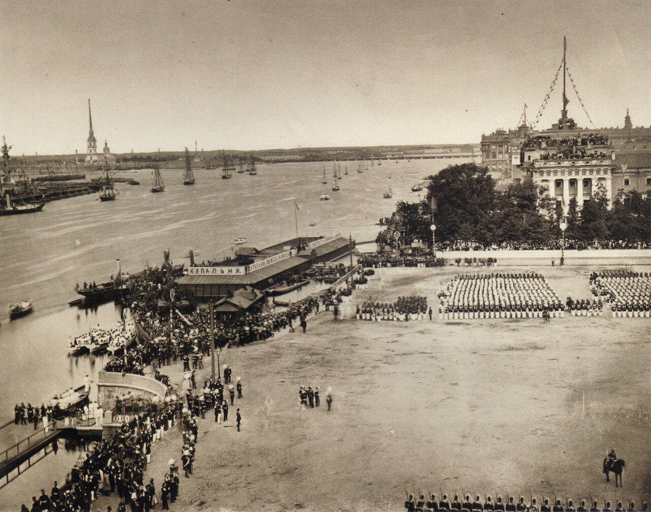 Вид Невы во время отправления процессии из Крепости к памятнику императора Петра Великого. 30 мая 1872