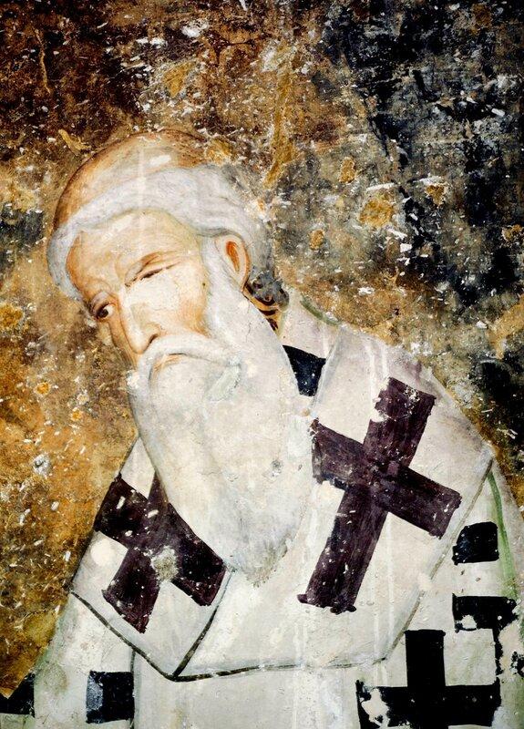 Святитель Савва, первый Архиепископ Сербский. Фреска церкви Святой Троицы в монастыре Сопочаны, Сербия. XIII век.