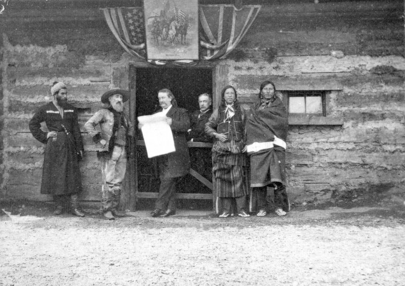 John Burke, press agent for Buffalo Bill's Wild West Show, John Y. Nelson, a scout and driver of the Deadwood Stagecoach, а Russian Georgian Cossack, Meliton Tsintsadze, 1892