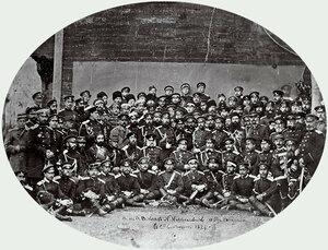 Великият княз Николай Николаевич (втори ред седнали, седми от ляво на дясно, след него генерал Йосиф Гурко) с щаба на армията и чуждестранните военни агенти, на втория ред седнал, втори от ляво на дясно е Сейго Ямадзава, Сан Стефано 19 февруари 18