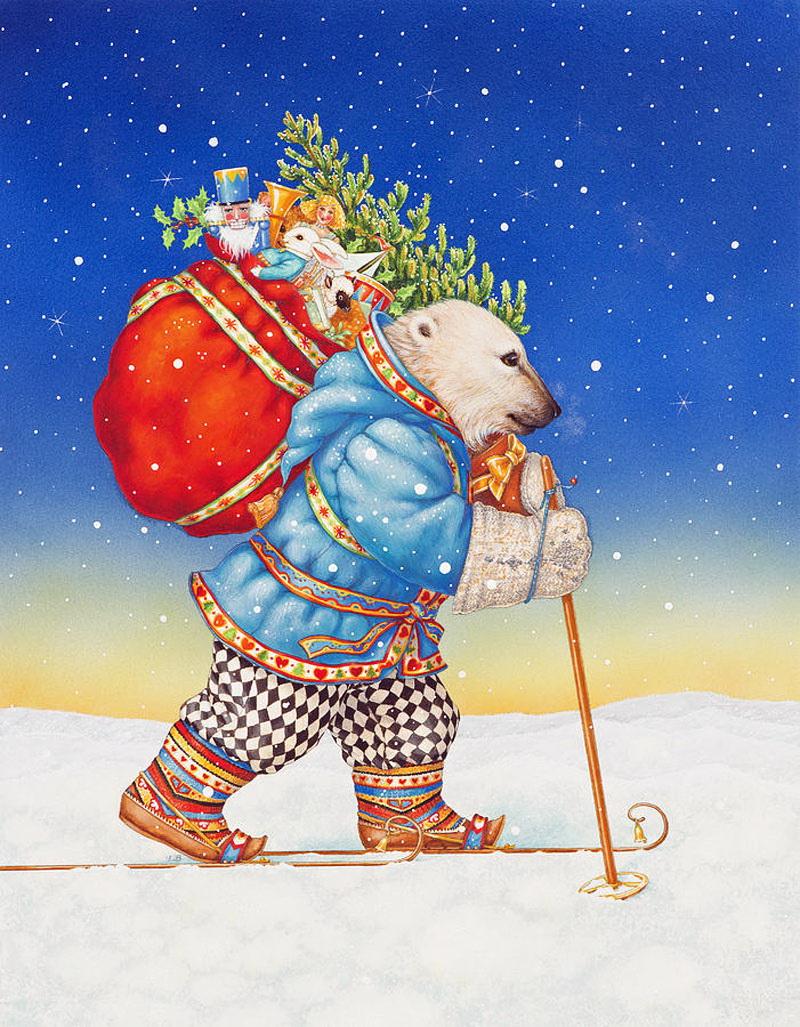 Полярный медведь Санта-Клаус