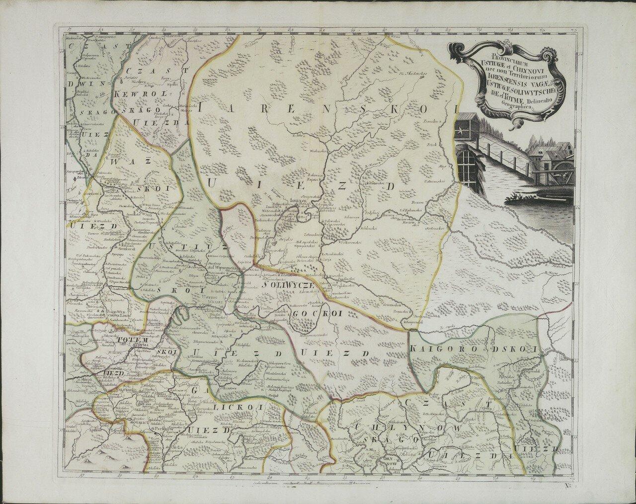 1745. Карта земель Устюга, Сольвычегодска и Тотьмы