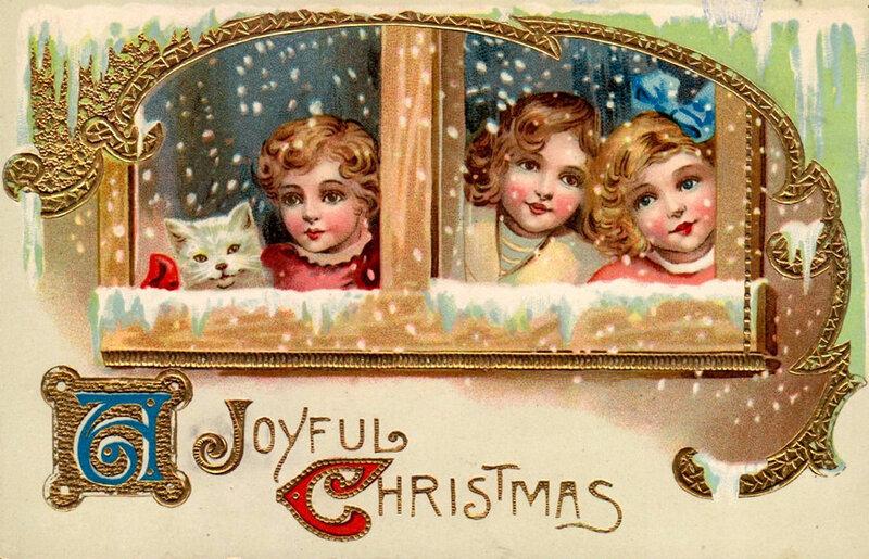 Винтажные открытки рождественские 11
