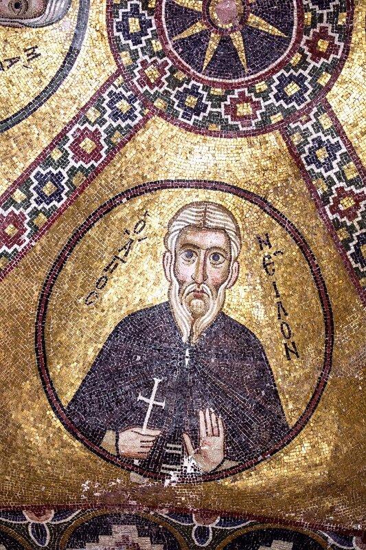 Святой Преподобный Нил Постник (Нил Синайский). Мозаика монастыря Осиос Лукас (Преподобного Луки), Греция. 1030 - 1040-е годы.