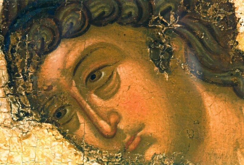 Крещение Господне. Икона из Успенского собора во Владимире. 1410-е годы. ГРМ. Фрагмент. Ангел Господень.