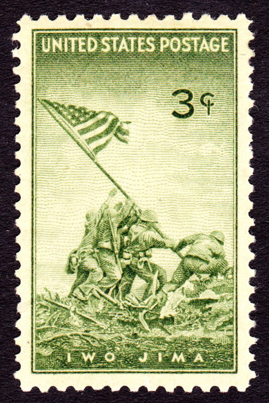 U.S. postage stamp, 1945 issue, commemorating the battle of Iwo Jima