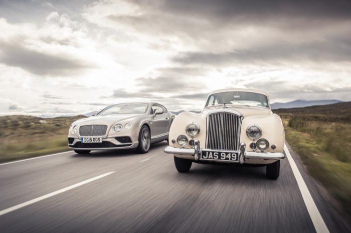 Bentley Continental GT Speed на встрече с прадедом 1952 года