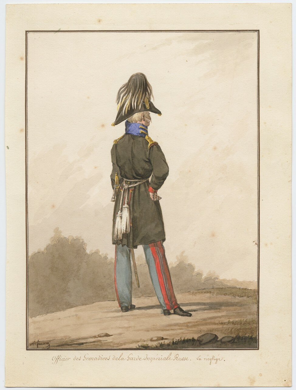 Офицер гренадерского полка русской императорской гвардии в повседневной форме, 1815