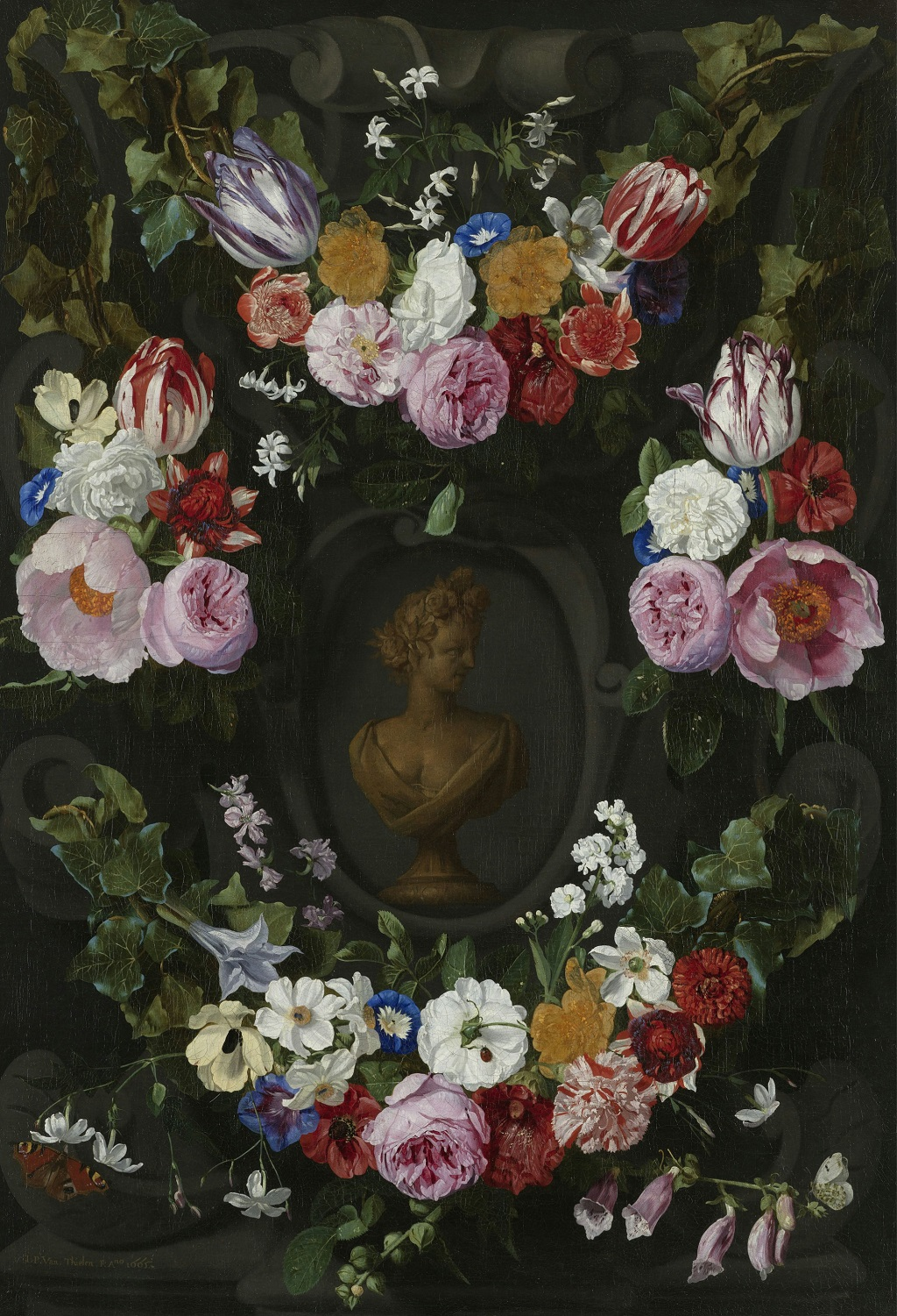 4 Jan Philipp van Thielen (1618-1667) — Festoon of flowers to a bust of Flora , 1665.jpg