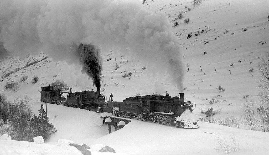 Denver & Rio Grande Western train (Narrow Gauge), engine #360 and #361, above Cimarron, Colo., February 22, 1940