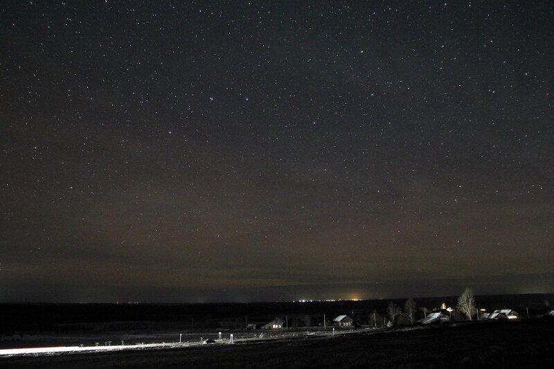 Созвездние Большой медведицы и звёздное надо над Шалегово 23 ноября 2014 г. Астрономический выезд в Шалегово (Оричи, Кировская область)