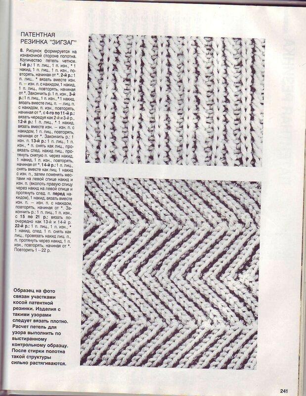 Вязание спицами патентная резинка схемы