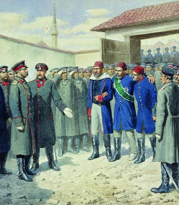 Плевна. Раненый Осман-паша перед Александром II