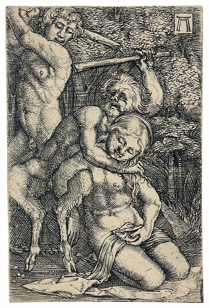 Albrecht Altdorfer (1480-1538)Two Satyrs, fighting about a Nymph (Bartsch 38; Winzinger 164)