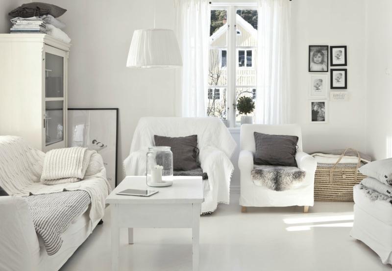 Белый цвет в интерьере гостиной, фото 3
