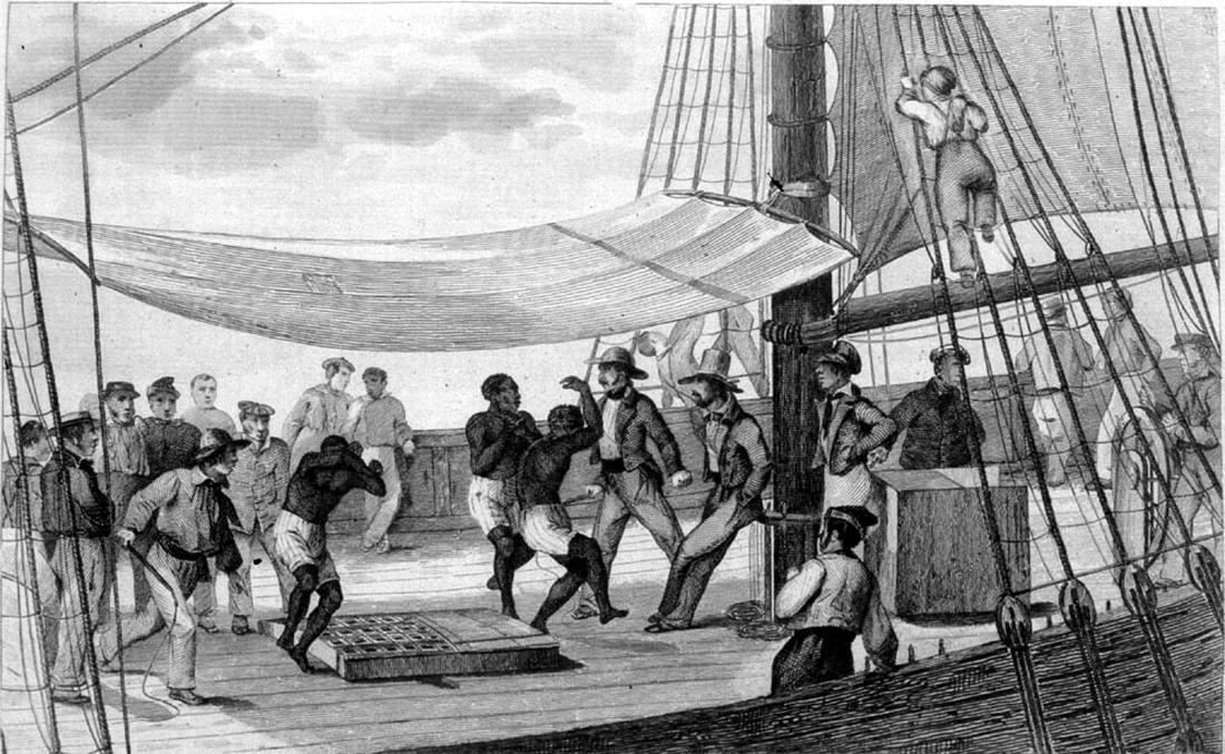 Понуждение африканских невольников к исполнению танцев на палубе судна в целях развлечения экипажа (начало 19 века)