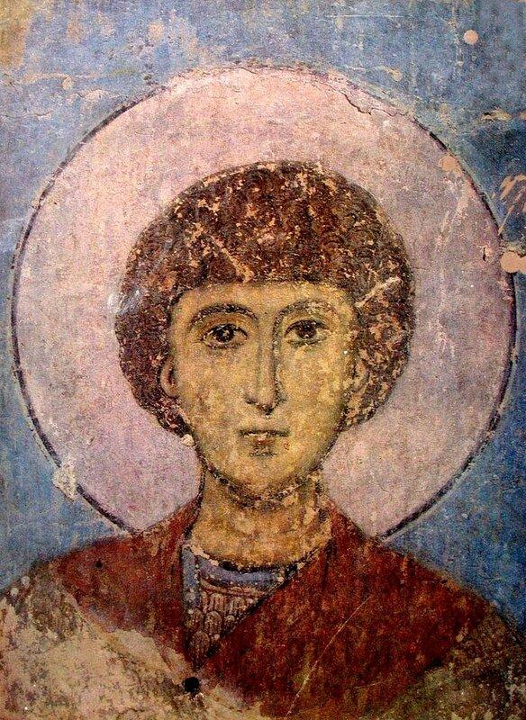 Святой Великомученик Георгий Победоносец. Фреска церкви Св. Николая в Кинцвиси, Грузия. 1207 - 1213 годы.