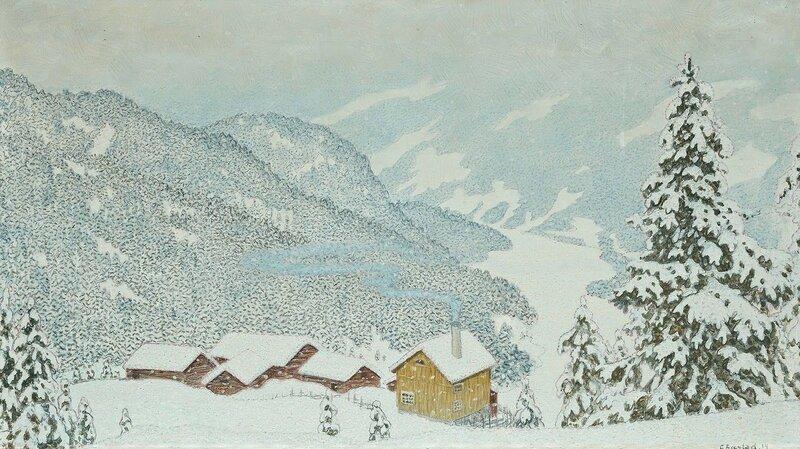 Gustaf Fjaestad. Ферма в зимнем пейзаже. 1914.jpg
