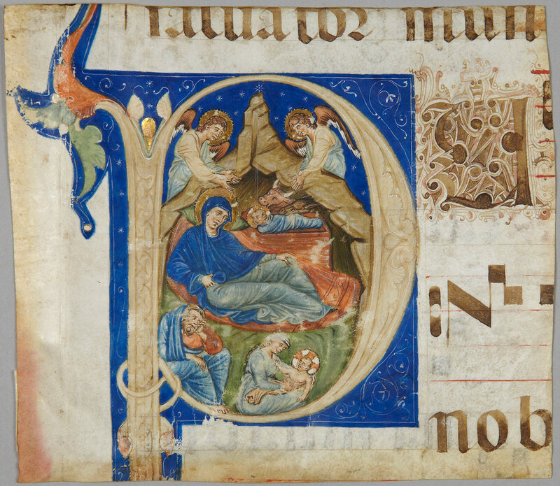 Initial showing the Nativity, end of the 13th centuryPen and brown ink
