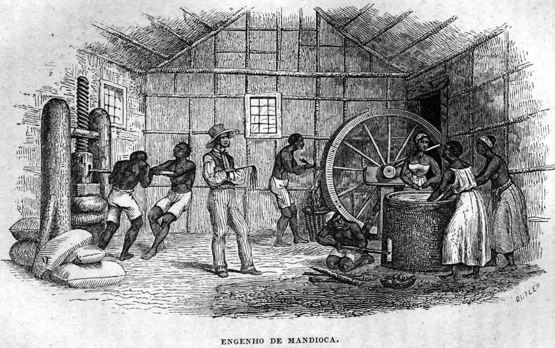 Рабы занимаются переработкой маниоки (Бразилия, 1840-е годы)