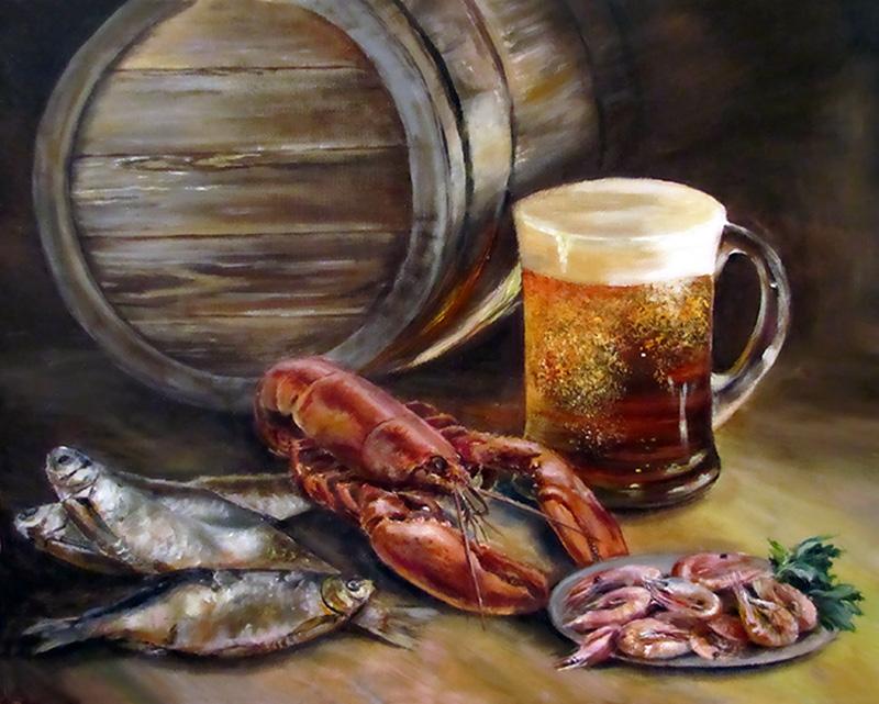 Другу, картинки пиво с раками и рыбой