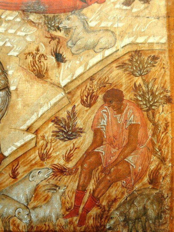 Рождество Христово. Икона. Новгород, XVI век. Фрагмент. Пастух.