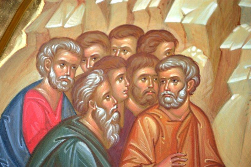 Вход Господень в Иерусалим. Иконописец Наталия Пискунова. Фрагмент. Апостолы.