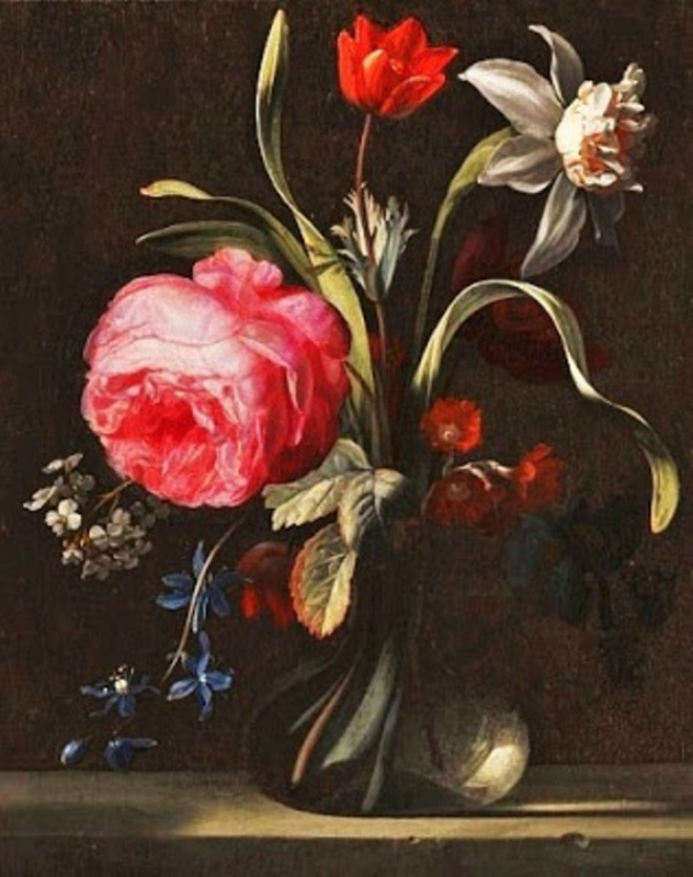 15 17 Simon Verelst (Dutch Baroque Era Painter, c 1644-1721)  Flowers in a Vase 1669.jpg