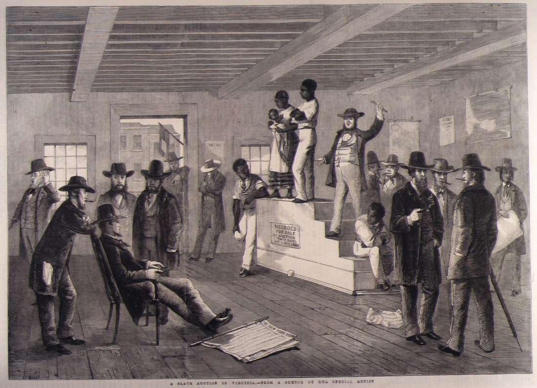 Продажа семьи рабов на аукционе в штате Южная Каролина (1861 год)