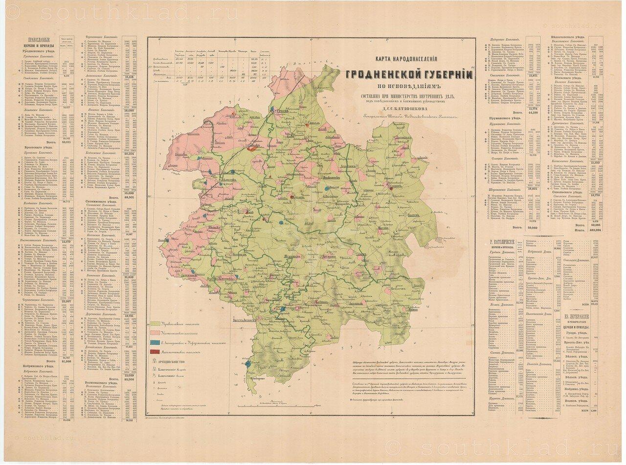02. Карта народонаселения Гродненской губернии по исповеданиям