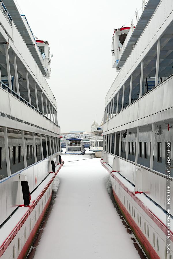 караван теплоходов на зимовке в Северном речном порту Москвы