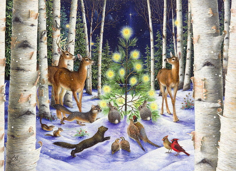 Вся в огнях сияет ёлка… Дед Мороз уж у дверей! Иллюстратор Lynn Bywaters