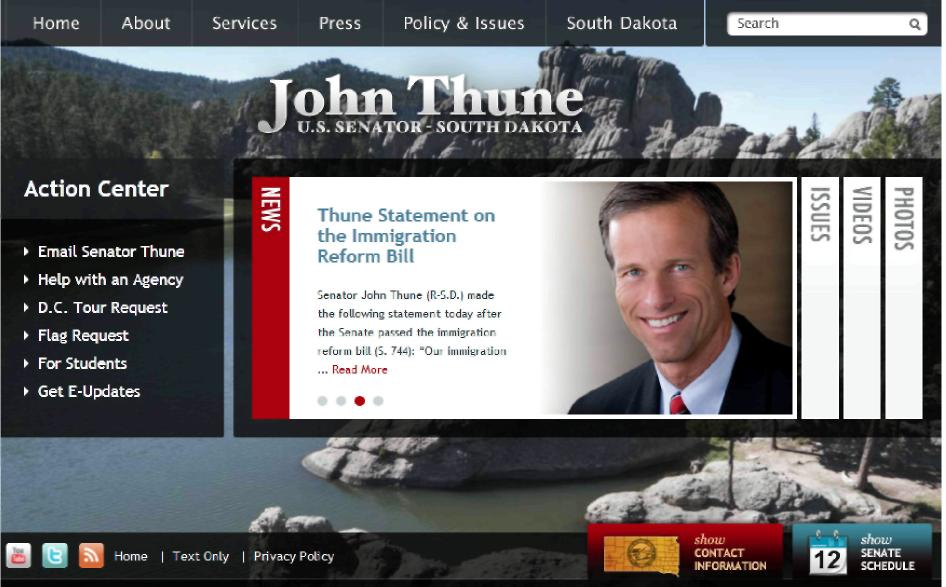 Стартовая страница персонального сайта сенатора             Дж. Тъюна