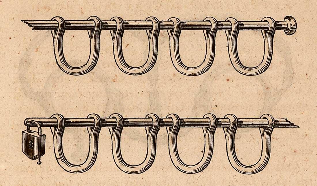 Оковы и замки, использовавшиеся работорговцами в начале 19 века